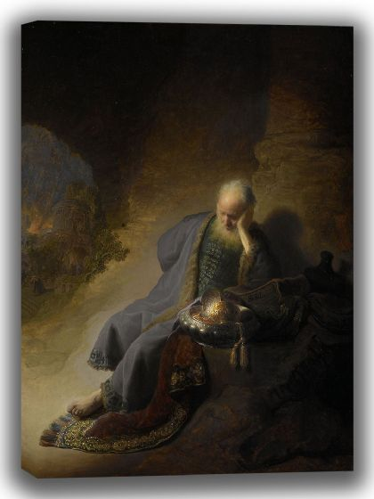 Rembrandt: Jeremiah Lamenting the Destruction of Jerusalem. Fine Art Canvas. Sizes: A4/A3/A2/A1 (004034)